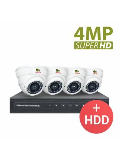 4.0MP Indoor set PRO AHD-72 4xCAM + 1xDVR + HDD