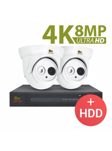 8.0MP (4K) Indoor set IP-86 2xCAM + 1xNVR + HDD